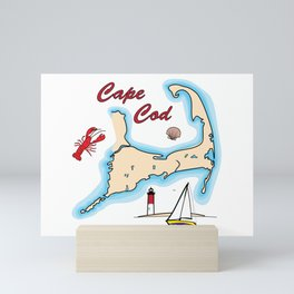 Cape Cod Map with Sailboat, Lighthouse, Lobster, and Shell Mini Art Print