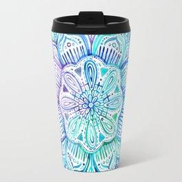 Iridescent Aqua and Purple Watercolor Mandala Travel Mug