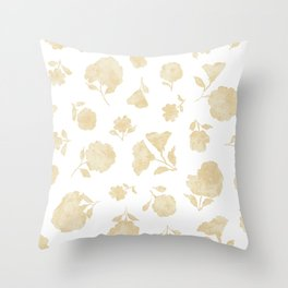Cream Shadow Bloom Throw Pillow