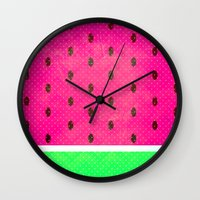 watermelon Wall Clocks featuring Watermelon by M Studio