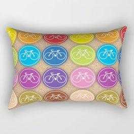 Multicolored Bicycles Icons Rectangular Pillow