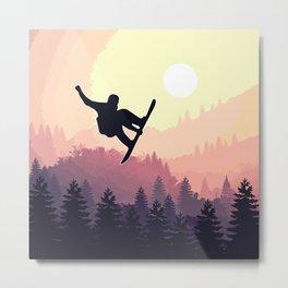 Snowboard Skyline III Metal Print