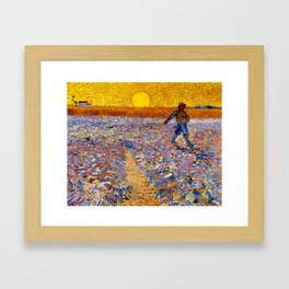 Vincent Van Gogh The Sower With Setting Sun Framed Art Print
