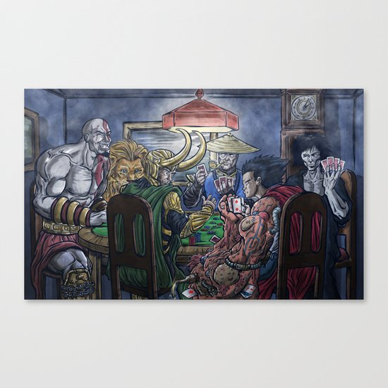 Gods Playing Poker Canvas Print