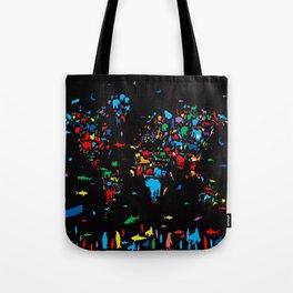 world map animals black Tote Bag