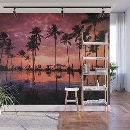Paradise Sunset Tropical (Color) Wall Mural