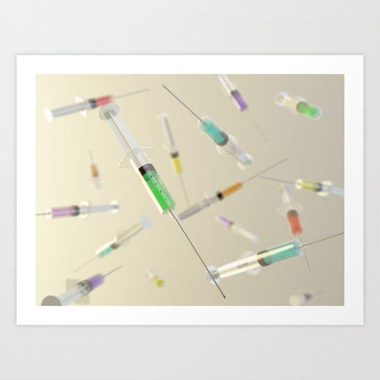 Syringe frenzy Art Print