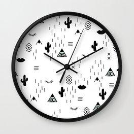 Indian summer aztec mayan symbol pattern Wall Clock