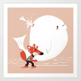 Fox and Whale Art Print
