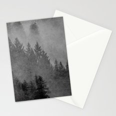 Fog Forest - Black and White Charcoal Forest Stationery Cards