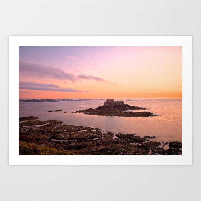 Saint-Malo Twilight Coast Art Print