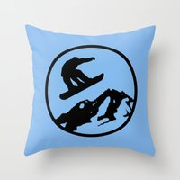 snowboarding Throw Pillows featuring snowboarding 3 by Paul Simms