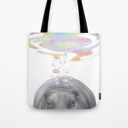 Hippo swimming underwater Tote Bag