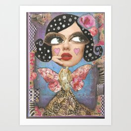 Blue whimsical woman Art Print