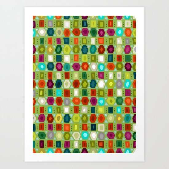 hex strip green Art Print