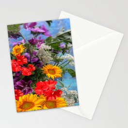 QUEEN ANN'S LACE GERANIUMS SUNFLOWERS BLUE STILL LIFE Stationery Cards