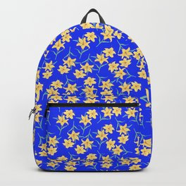 Yellow Lilies on Cornflower Blue Background Backpack