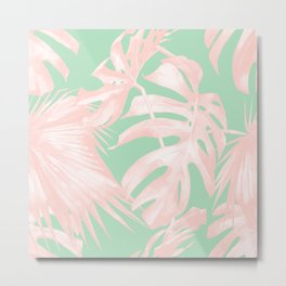 Tropical Palm Leaves Coral Pink Mint Green Metal Print