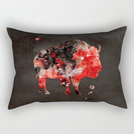 Watercolor Buffalo Bison Painting Black Red Grunge Rectangular Pillow