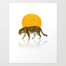 Leopard and sunset Art Print