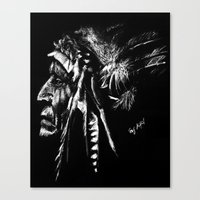 native american Canvas Prints featuring Native American by Sandy Elizabeth
