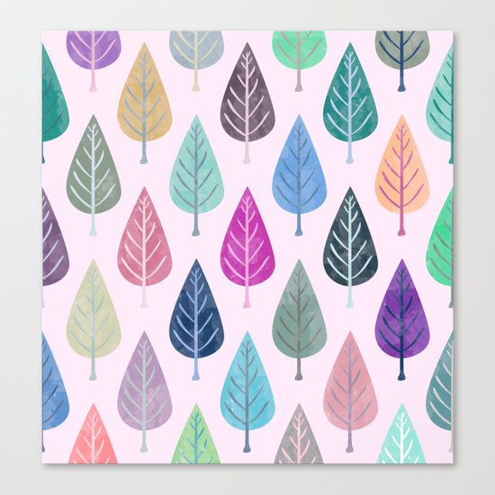 Watercolor Forest Pattern V Canvas Print