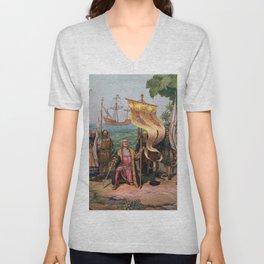Columbus Landing in America Painting (1892) Unisex V-Neck