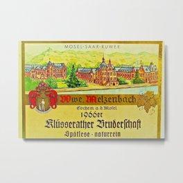 Vintage 1866 Wine Bottle Label Klusserather Bruderschaft Metal Print