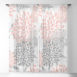 Festive, Floral Prints, Leaves and Blooms, Coral and Gray Sheer Curtain