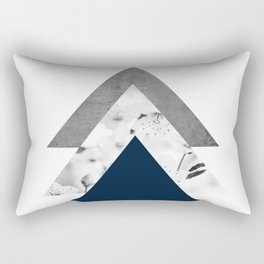 Blue grey monochrome blossom arrows Rectangular Pillow