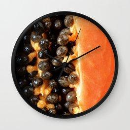 Papaya fruit halved macro Wall Clock