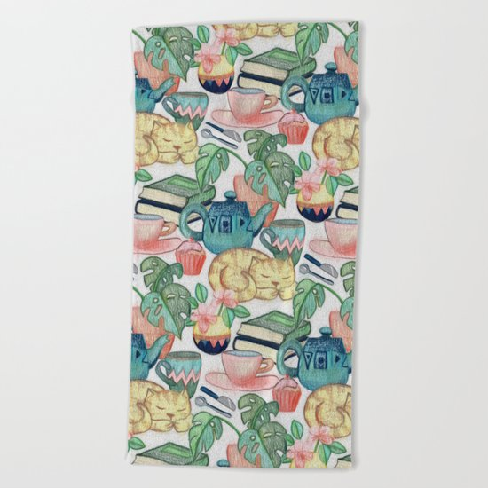 Lazy Afternoon - a chalk pastel illustration pattern Beach Towel