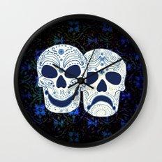 Comedy-Tragedy Sugar Skulls Cyan Wall Clock