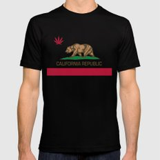 California Republic state flag with red Cannabis leaf MEDIUM Mens Fitted Tee Black