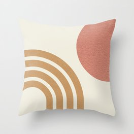 Mid century modern pink Sun & Rainbow Throw Pillow