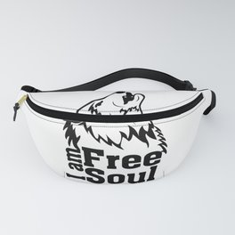 Wolf I am free soul - Black design Fanny Pack