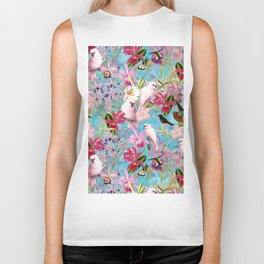 Vintage & Shabby Chic - Pink Tropical Birds and Orchid Flower Pattern Biker Tank