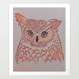 Amber Owl Art Print