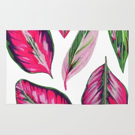 Calathea pink leaves Rug