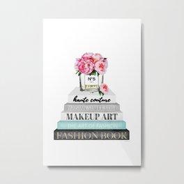 Peony, Peonies, Books, Fashion books, Pink, Teal, Fashion, Fashion art, fashion poster, Metal Print