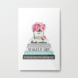 Peony, Peonies, Books, Fashion books, Pink, Teal, Fashion, Fashion art, fashion poster, Metal Print