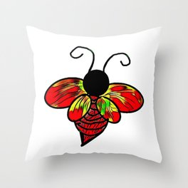 Red Bee Throw Pillow