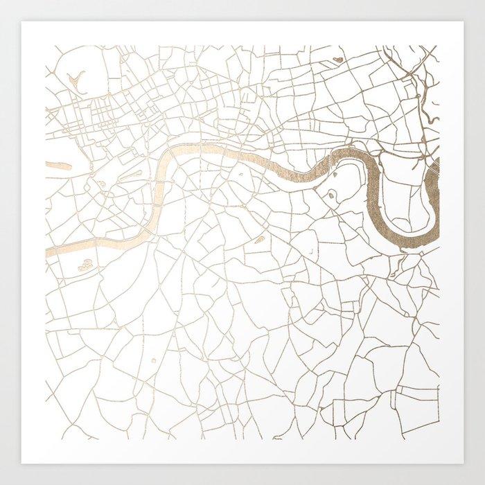 white on gold london street map art print