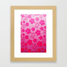 Pink Hibiscus And Honu Turtles Framed Art Print