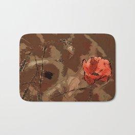 Poppy flower illustration, red graphic, floral print Bath Mat