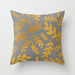 Gray Gold Foil Leaves  Throw Pillow