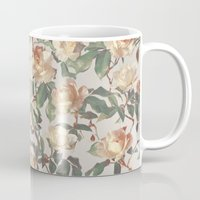 bedding Mugs featuring Soft Vintage Rose Pattern by micklyn