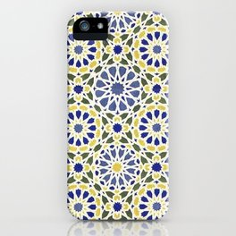Middle Eastern Tile Pattern in Blue and Yellow #2 iPhone Case