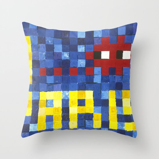 I Space Invader Paris Throw Pillow