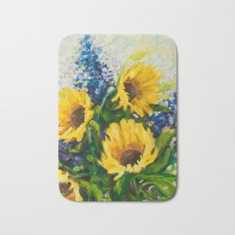 Sunflowers Oil Painting Bath Mat